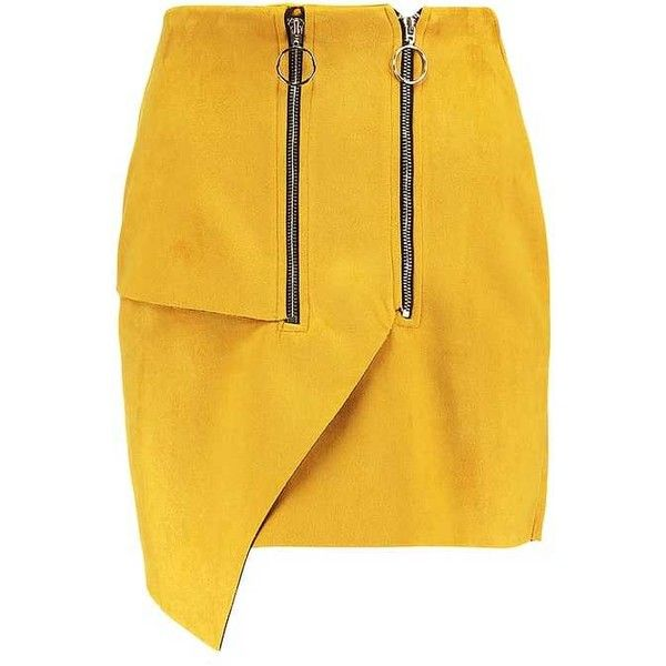 DOUBLE ZIP Mini skirt mustard (4650 RSD) ❤ liked on Polyvore featuring skirts, mini skirts, yellow skirt, yellow mini skirt, mustard mini skirt and short skirts