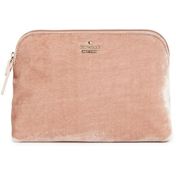 Kate Spade New York Watson Lane Velvet Small Briley Small Makeup Bag ($79) ❤ liked on Polyvore featuring beauty products, beauty accessories, bags & cases, ginger, kate spade, cosmetic bag, make up purse, makeup purse and cosmetic purse