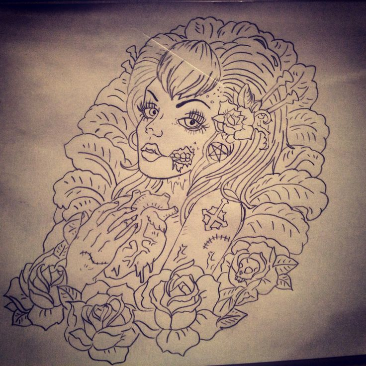Tattoo Woman Zombie: 15 Must-see Zombie Girl Tattoos Pins