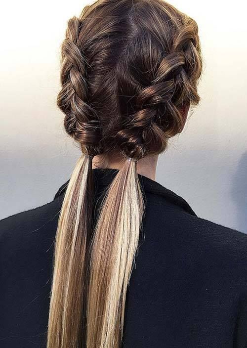 100 Trendy Long Hairstyles for Women: Half-Braid Pigtails #Hairstyles For Women www.allhairstylesforwomen.com Tag a friend who Love this!