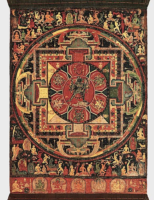 Chakrasamvara Mandala, ca. 1100. Nepal. The Metropolitan Museum of Art, New York. Rogers Fund, 1995 (1995.233) | This mandala, or ritual diagram, is conceived as the palace of the wrathful Chakrasamvara and his consort Vajravarahi, seen together at the center of the composition. These deities are important to the Newar tradition of Nepal as well as in Tibet, embodying the esoteric knowledge of Buddhist texts, the Yoga Tantras. #Buddhism