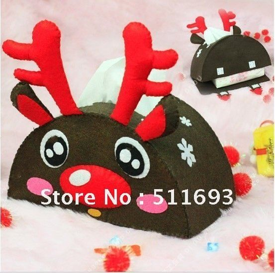 X-mas decoration/tissue box/Christmas felt tissue box/deer design tissue box $888,39