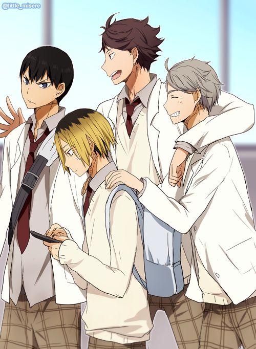The Setters: Kageyama Tobio (Karasuno), Oikawa Tooru (Aoba Josai), Kozume Kenma (Nekoma), & Sugawara Koushi (Karasuno). [Haikyuu!!]