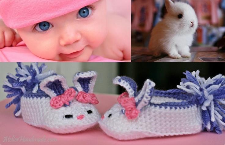 Iepurasi pentru copii - botosei crosetati - bunny slippers.
