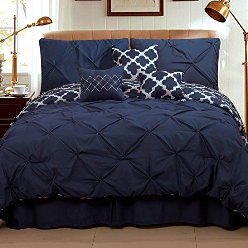Sweet Home Collection 7 Piece Pinch Pleat Decorative Pin tuck Solid To Reversible Lattice Print Fashion Comforter Set FullQueen NavyWhite * Click image to review more details.