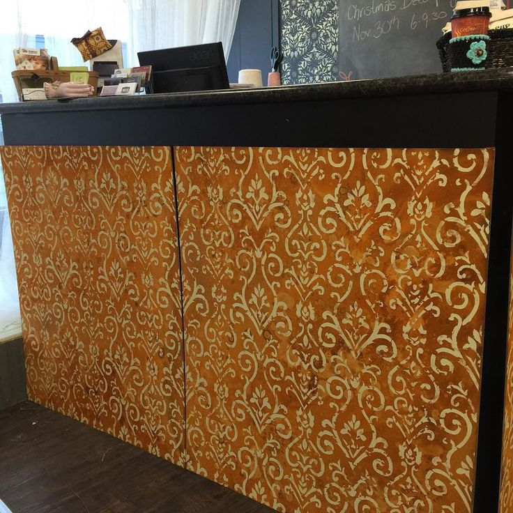 Stunning stenciled and rusted panels for The Painted Bench Hamilton shop | Modern Masters Metal Effects Rust Finish.