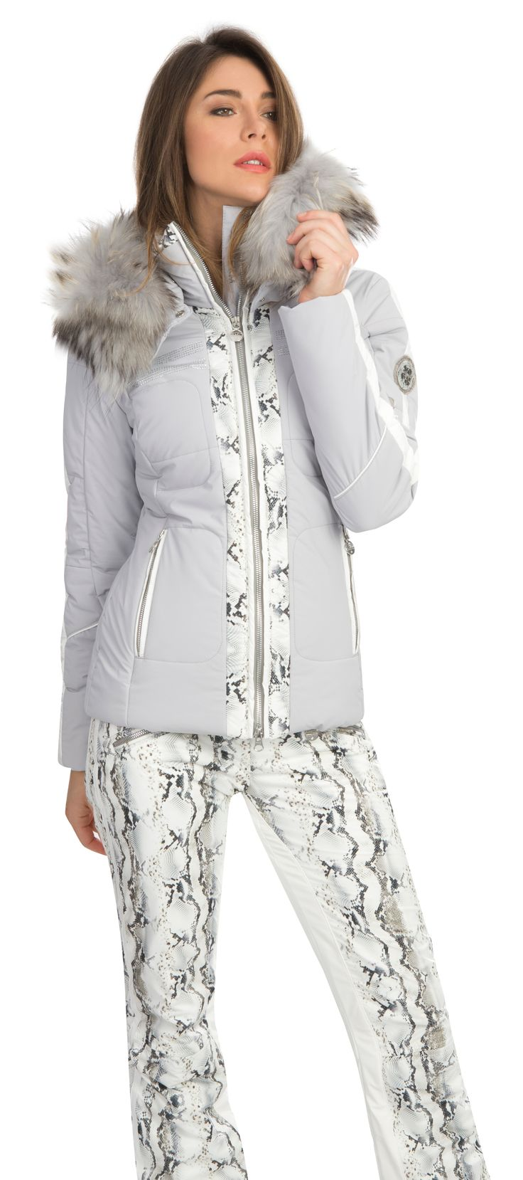 Kirana, a luxe grey ski jacket with diamante and snake patterns. By Sportalm  Kitzbuhel