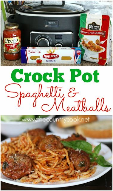Crock Pot Spaghetti & Meatballs recipe from The Country Cook. Only 4 Ingredients  and one pot! With this slow cooker meal, the meatballs cook perfectly and the noodles come out just right!