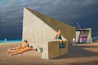 Artwork by Jeffrey Smart, Sunbathers at Construction Site, Made of oil on canvas