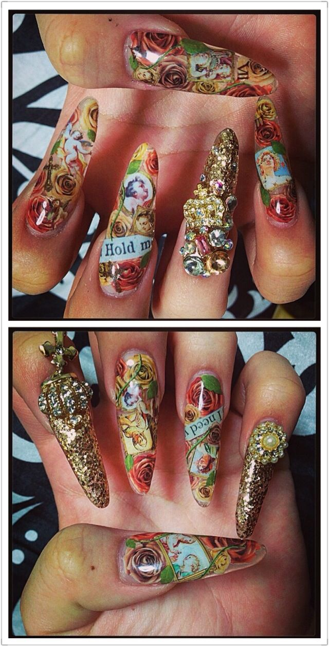 108 best nails images on pinterest nail designs nail art and nails red gold cupid letters bling japanese nail art gyaru by ig prinsesfo Images