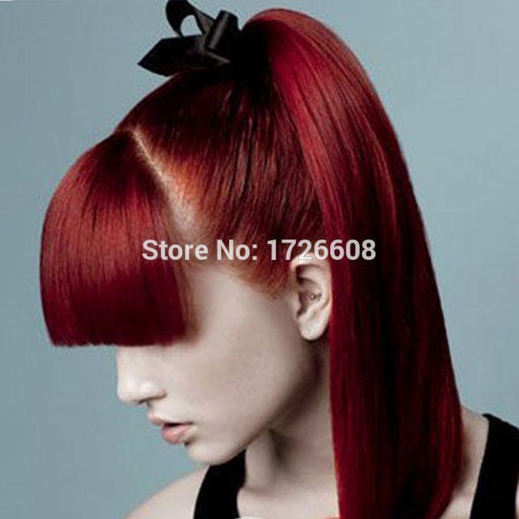 24  красный поддельные волосы хвост жаропрочных пони-хвост с бантом наращивание волос шнурок хвост шиньоны синтетические клип в хвост
