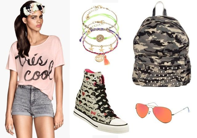 T-shirt: H&M, bracelets: Accessorize, backpack: Ruco Line, sunglasses: Ray Ban, sneakers: Skechers   Festival Wear - Sonisphere Rome Shopping Route http://shoptrotter.com/users/bs/routes/timberland-to-hm-2014-06-26-1/