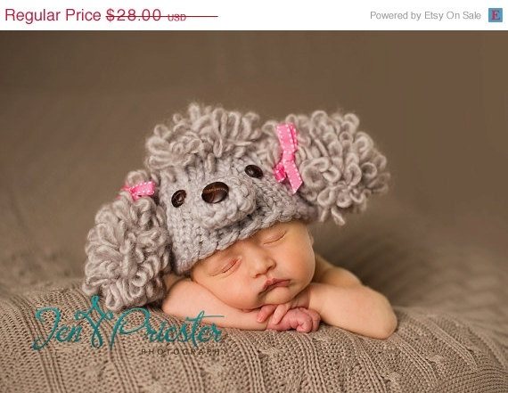Sale 15 off Sale 20 Percent Off Newborn Poodle hat by garysangel, $23.80