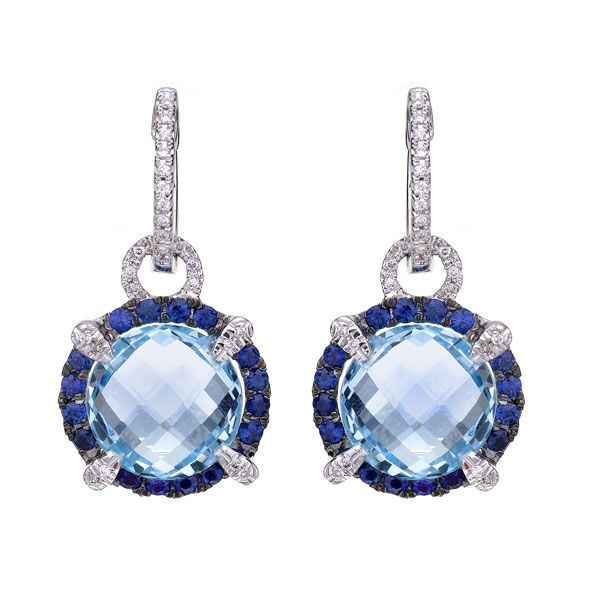 An beautifull pair of drop earrings, consisting of round cut blue topazes, of 11.60cts, surrounded by the stunning contrast of blue sapphires, suspended from a hoop of diamonds. Would look amazing with a white shirt and jeans for a casual, elegant look..