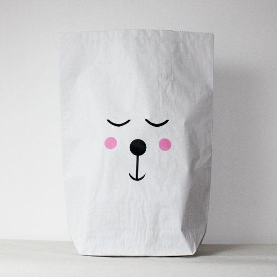 erröten Bär Kraft Papier Tasche Lagerung Spielzeug von VolpeShop