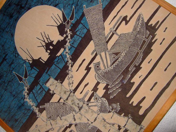 60er Jahre Bild Fantasy Landschaft Pop Art Hippie Batik signiert D. Siahaan in Antiquitäten & Kunst | eBay