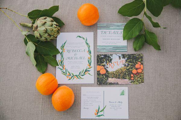 orange grove wedding invitations - photo by Fondly Forever Photography http://ruffledblog.com/california-orange-grove-wedding