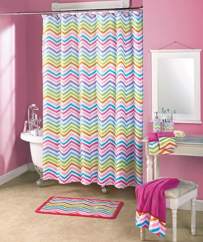 Great Stardust Colorful Zigzag Shower Curtain Hooks Modern Chevron Bath Accessory
