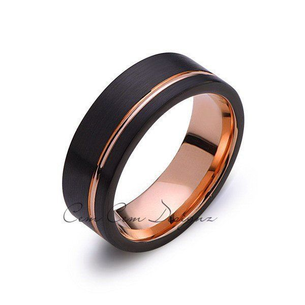 Rose Gold Tungsten Wedding Band - Black Groove Brushed Ring - 8mm Ring - Unique Engagment Band - Comfor Fit - LUXURY BANDS LA
