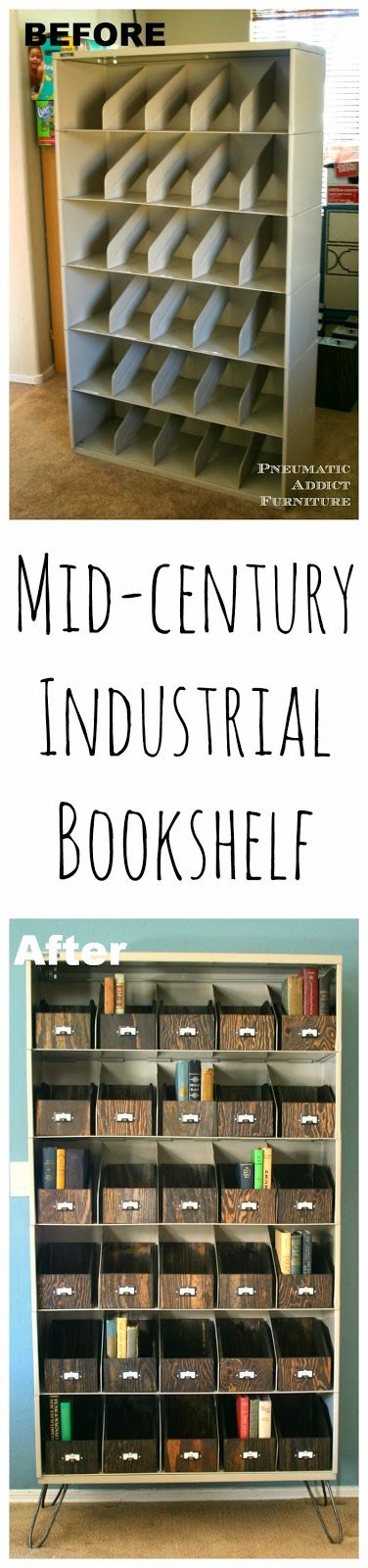 Turn a cheap, old office shelf into a rustic, Industrial bookcase.