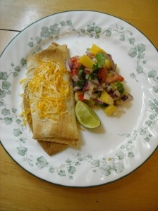 In honor of Donald Driver and Dancing with the Stars: Chicken Chimi Cha Chas with Mango Salsa
