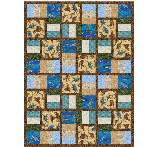 Make this fun Jurassic Jungle quilt with this free pattern!! Back from extinction, these creatures come to life in the artwork of Dan Morris. Identify your favorite creature as you enjoy motifs of the foliage and waters they roamed in. These fantastic beings are a favorite of kids of all ages and are back in favor due to the recent movie release! And this quilt was designed by Heidi Pridemore for Quilting Treasures