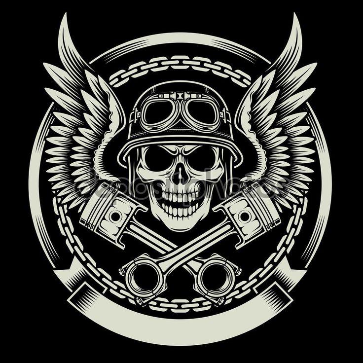 Ilustração de vetoriais editáveis de caveira motociclista vintage com asas e pistões emblema sobre fundo preto, imagem apropriado para emblema, insígnia, crista, t-shirt gráfica ou tatuagem