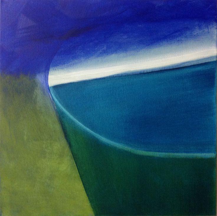 'Blauw in het groen', 40 x 40 cm, acryl op doek, 350,00 euro