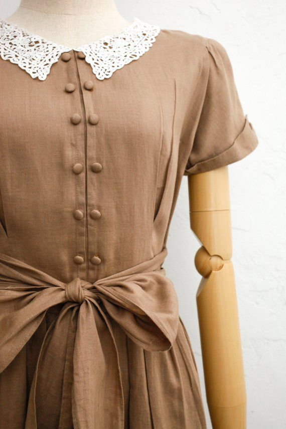 b0d63c481b Vintage 70s Dress Olive Green Linen x Cotton Dress