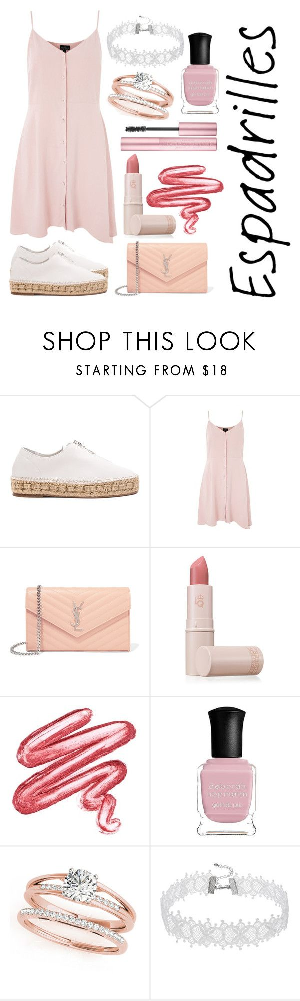 """#espadrilles (Contest Submission)"" by fashionbyginny ❤ liked on Polyvore featuring Alexander Wang, Topshop, Yves Saint Laurent, Lipstick Queen, Lime Crime and Deborah Lippmann"