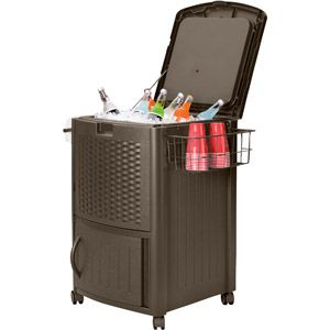 Suncast Resin Wicker Cooler from Walmart, $109.  For the porch.  I intend to have a lot of outdoor parties, so a standing cooler/drink station would be awesome.  Suncast also makes matching trash receptacles, storage bins, planters, etc.