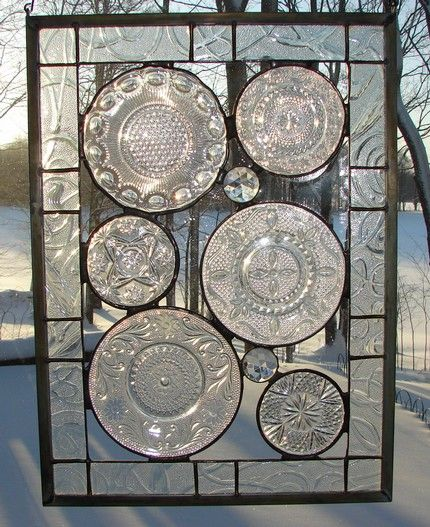 stained glass, using old glass plates: Plates Window, Stained Glass Windows, Crafts Ideas Glasses Plates, Stained Glasses Window, Window Panels, Art Ideas, Diy Ideal, Crafty Gifts, Glassware Gardens Art