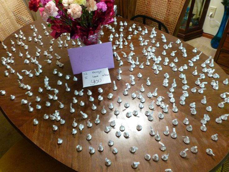 For a guy and his girlfriend's one year anniversary, he bought her 365 kisses, 52 flowers, 12 I love you cards, and 1 sapphire and a gold necklace...