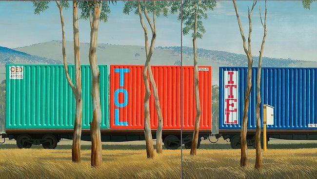 Jeffrey Smart, Container Train in Landscape (detail)