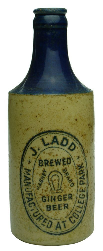 Embossing: J. Ladd / Brewed / Magnet (Magnet) Brand / Ginger / Beer / Manufactured at College Park // This bottle is the / property of / J. Ladd, College Park.  Potters Stamp: A / Govancroft Co / 2 / Glasgow. (South Australia) Type: Ginger Beer Crown Seal /  Era: 1930s /  Variety: Two tone, blue top, off white body.  Black Print.  10 oz. /  Height: 182 mm /  Condition: Fair.  6 x 3 mm chip to rear lip has a 55 mm crack down from it.  Spotty dark discolouration throughout, these are little…