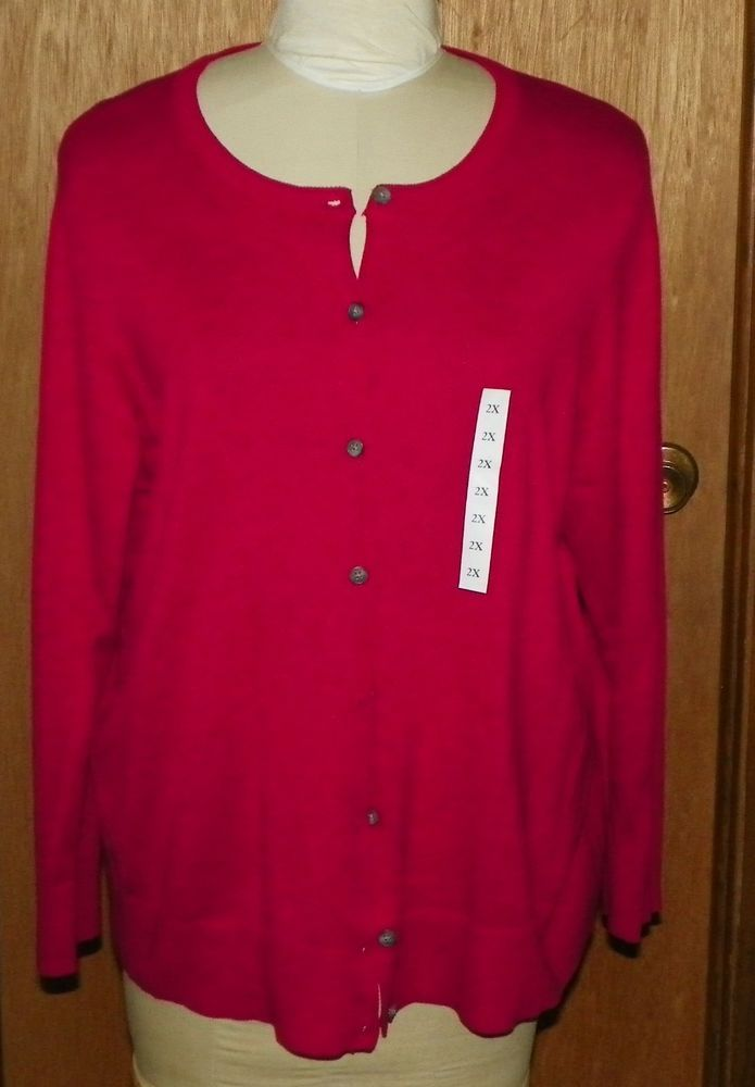 Croft And Barrow Hot Pink Cardigan Sweater Size 2x Plus New With