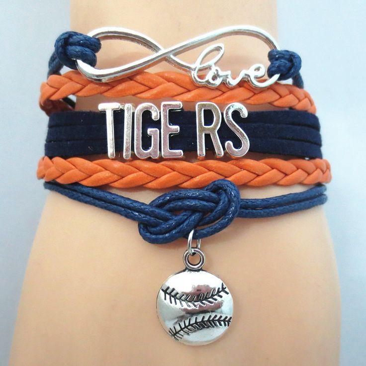 Infinity Love Detroit Tigers baseball Bracelet BOGO