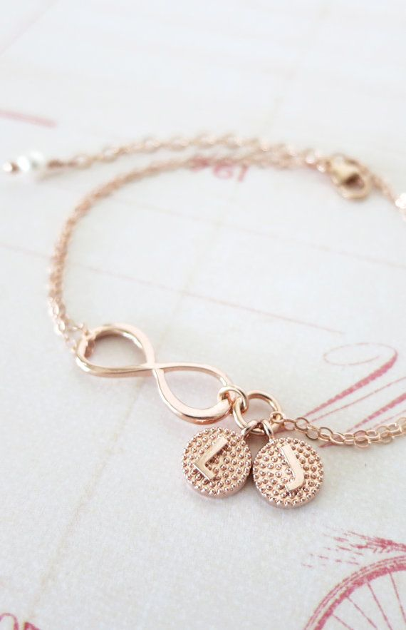 Personalized Rose Gold Infinity Bracelet - Infinity charm, rose gold filled, forever love, bridal, bridesmaid, best friends, sisters, by ColorMeMissy, www.colormemissy.com