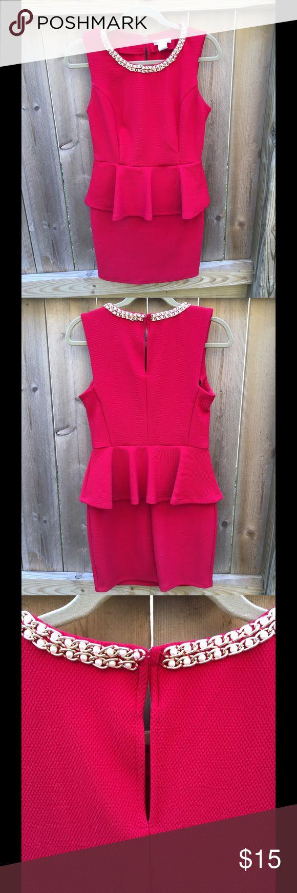 Little Red Peplum Dress w/ Pearl/Gold Neck  (M) Little Red Peplum Dress w/ Pearl/Gold Neck  (Size M) a'gaci Dresses