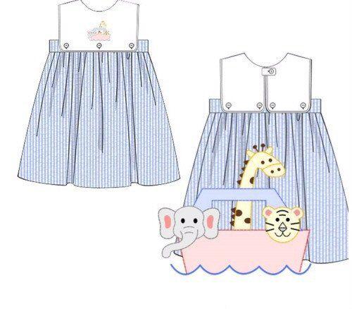 Blue Seersucker Shadow Smocked Noah's Ark Interchangeable Bib Dress