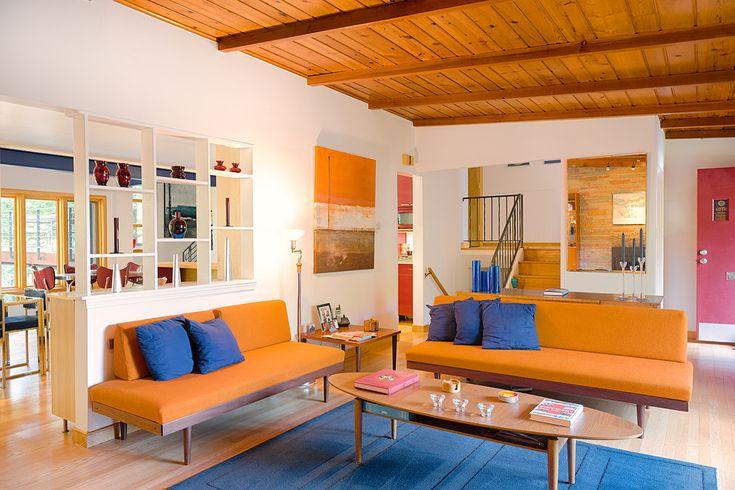 Blue contemporary artwork living room contemporary with rustic ...