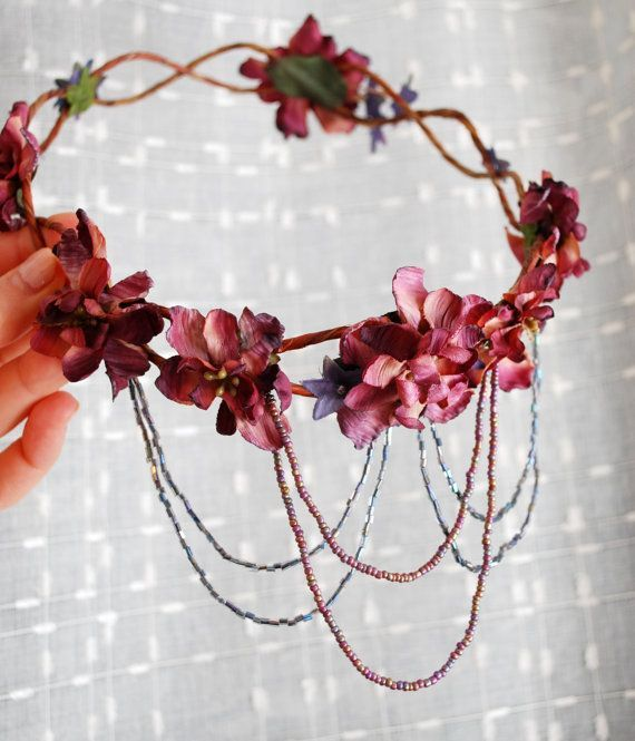 Bohemian head wreath mauve flower crown by gardensofwhimsy on Etsy, $80.00