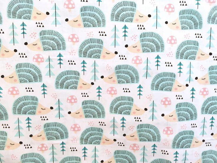 Hedgehog fabric, mint fabric, children fabric, animal fabric https://www.etsy.com/listing/518570407/half-metre-50cm-hedgehog-fabric-cotton