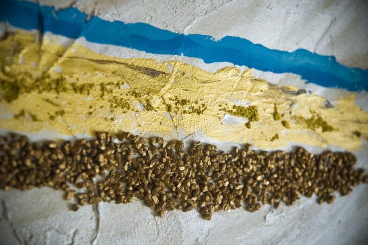 sabbia ed acqua_particolare - olio e materia su tela