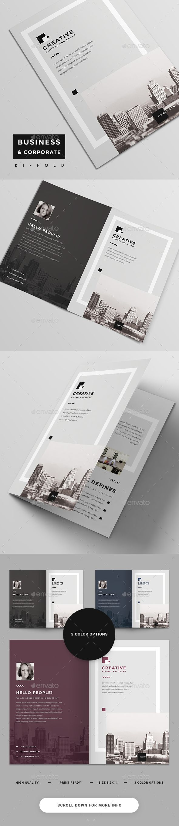 Corporate Bi-Fold Brochure - #Brochures Print #Templates Download here: https://graphicriver.net/item/corporate-bifold-brochure/19388742?ref=alena994
