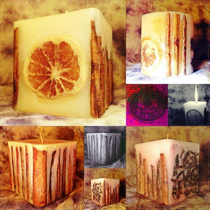 Velas inclusiones canela, naranja, clavo de olor, anís