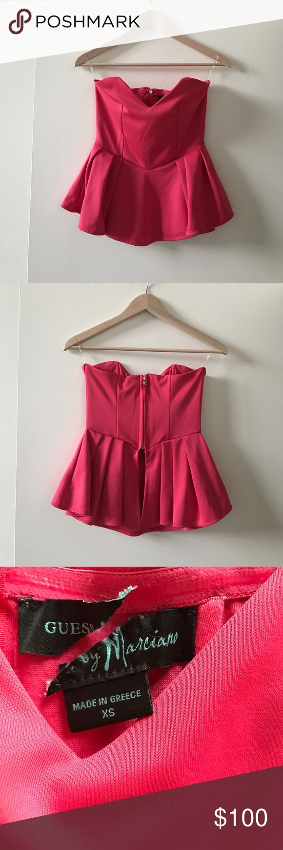 SALE! Marciano pink peplum top NWOT size XS can also fit a S. Gorgeous classy flirty Marciano Tops