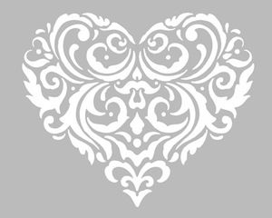 Pochoir Adhésif Home Déco 20 x 16 cm GRAND COEUR STYLISE & ARABESQUES