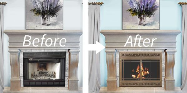 A prefab fireplace can be updated with a snap on reface.