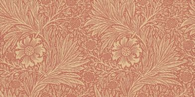 Marigold (210367) - Morris Wallpapers - True to its engraved roots, this delicately complex two colour leaf and marigold floral design with its undulating vertical stripe effect, is true Morris. Shown in soft red – available in other colours. Please request sample for true colour match.